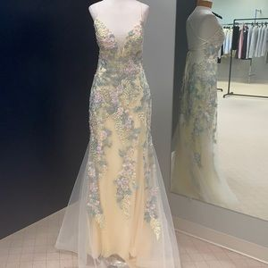 Embellished Tulle Gown w/tie back